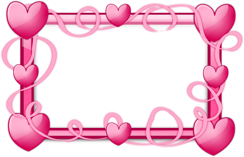 pink hearts frame by inky2010 glossy transparent frames