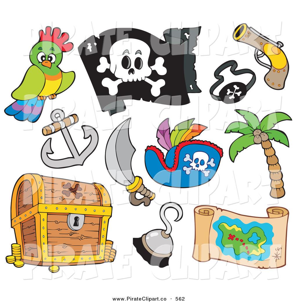 Pirate Treasure Gun Sword Parrot Map Items Black And White Pirate