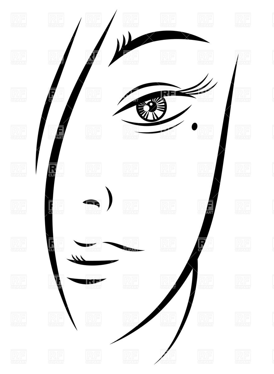Woman Face Outline Template