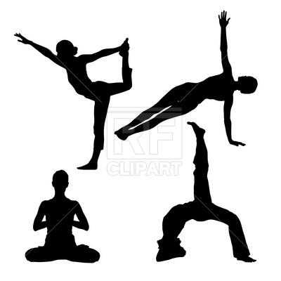 Yoga Poses   Peoples Silhouettes Download Royalty Free Vector Clipart