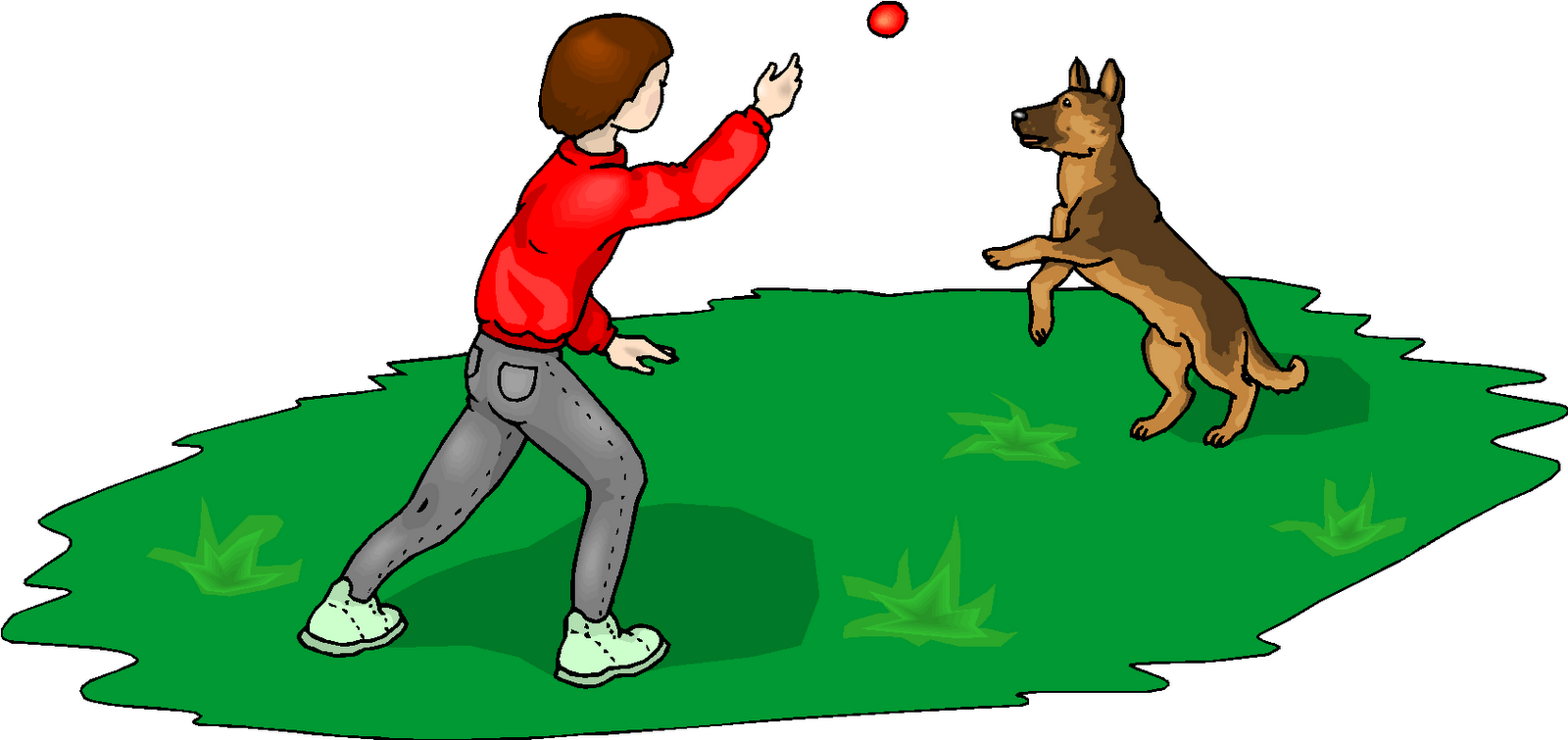 Dog Playing Fetch Clipart