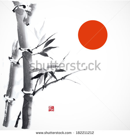 Card With Bamboo And Red Sun On White Background  Vector Illustration