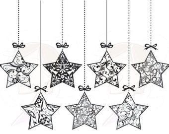 Christmas Garland Black And White Clipart - Clipart Kid