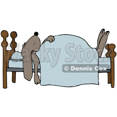 Clipart Illustration Of A Dog Snoozing Under A Blanket On A Bed