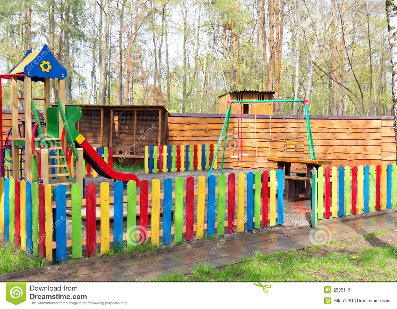 Colorful Wooden Children Playground Equipment Stock Image   Image
