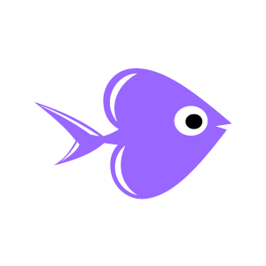 Graphic Design Of Heart Clipart   Purple Fish Swimming With White
