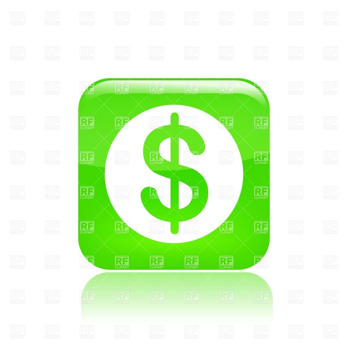 Green Button With Dollar Sign Download Royalty Free Vector Clipart