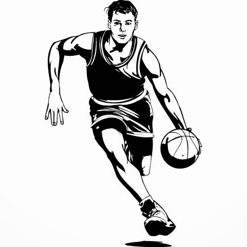 Playing Basketball Black And White Clipart - Clipart Kid