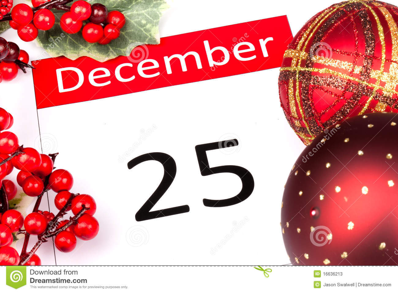 Calendar Date Of 25 December With Seasonal Holly And Red Berries