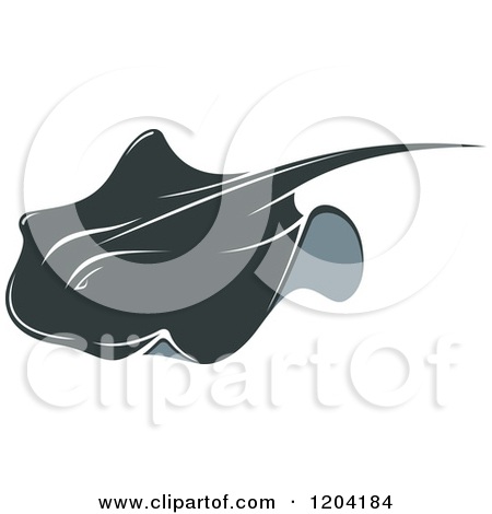 Clipart Of A Red And Black Stingray Logo And Reflection   Royalty Free