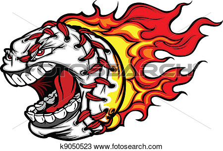 Clipart Of Flaming Baseball Or Softball Scream K9050523   Search Clip