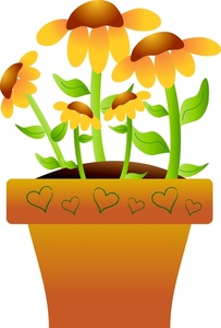 Daisies Clipart Image   Potted Flowers   Pretty Yellow Daisies
