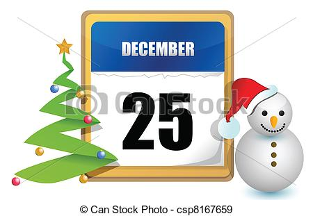 December 25 Calendar Tree And Snowman Illustration Design