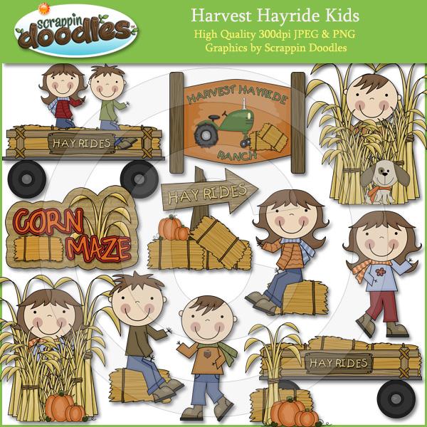 Hay Ride Kids Clip Art