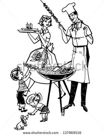 Family Barbecue   Retro Clip Art Illustration   Stock Vector