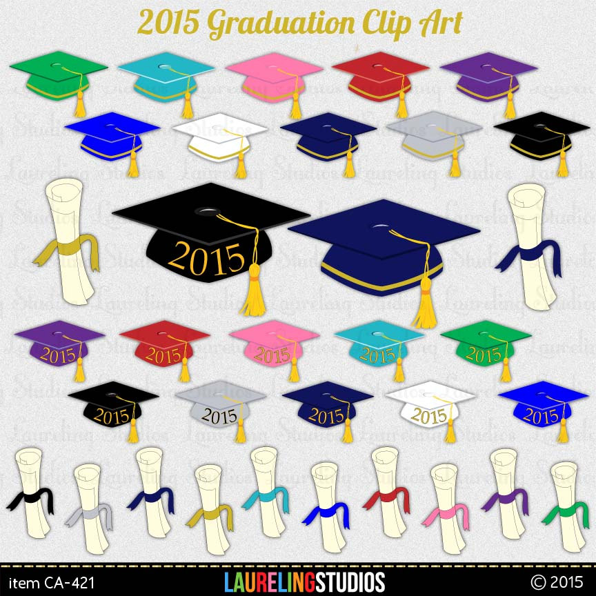 Graduation Clipart  2015 Graduation Digital By Laurelingstudios