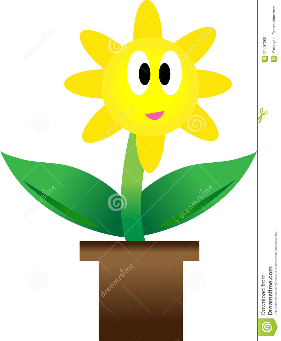 Growing Plant With Yellow Flower In Pot  Royalty Free Stock Photos