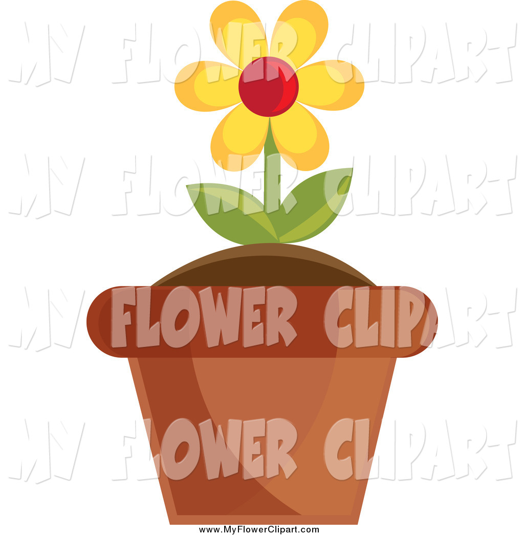 Larger Preview  Clip Art Of A Yellow Potted Daisy By Pams Clipart