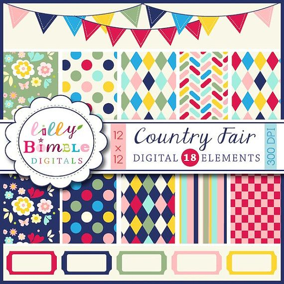 New Country Fair Digital Papers Bunting Clipart Instant Download Sc