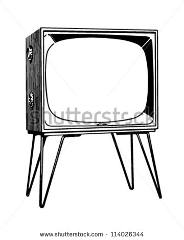 Tv Set   Retro Clipart Illustration   Stock Vector