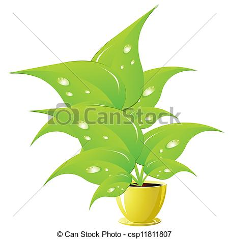 Vector   Green Flower In A Yellow Flower Pot   Stock Illustration