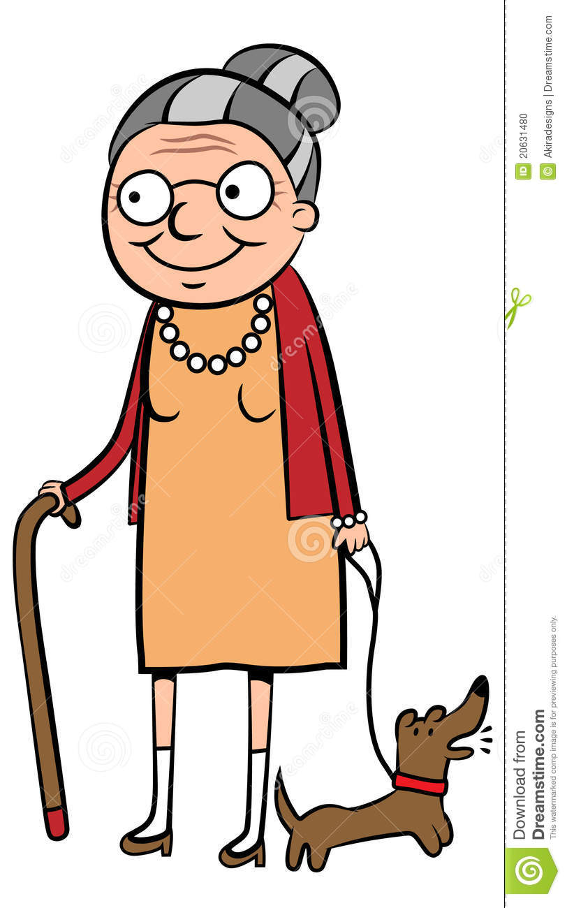 Vector Illustration Of A Happy Old Woman Walking Her Dog