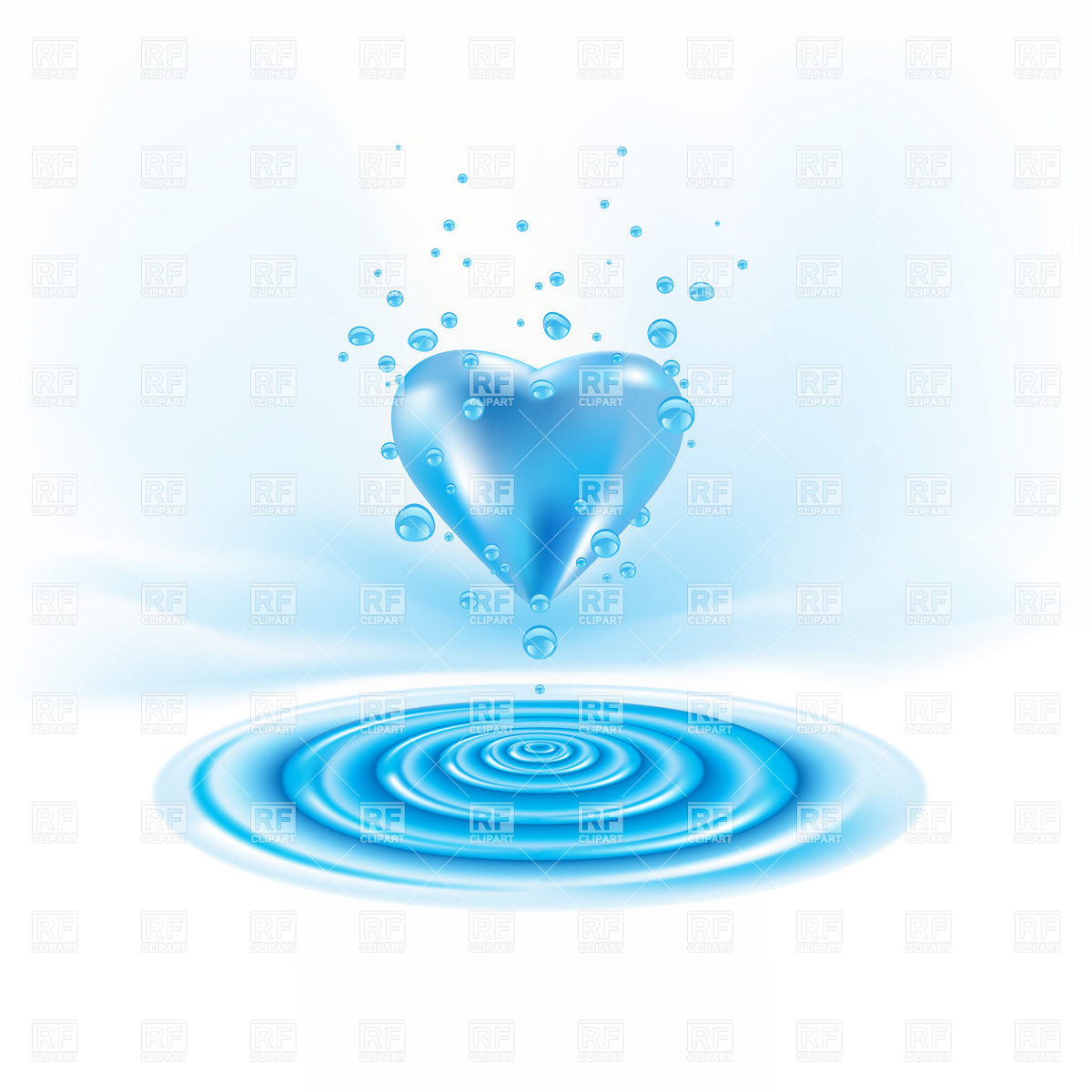 Water Waves And Heart With Drops Download Royalty Free Vector Clipart