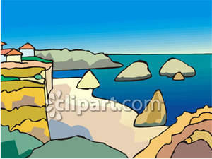 Beach Scene With Cliffs And Water Royalty Free Clipart Picture