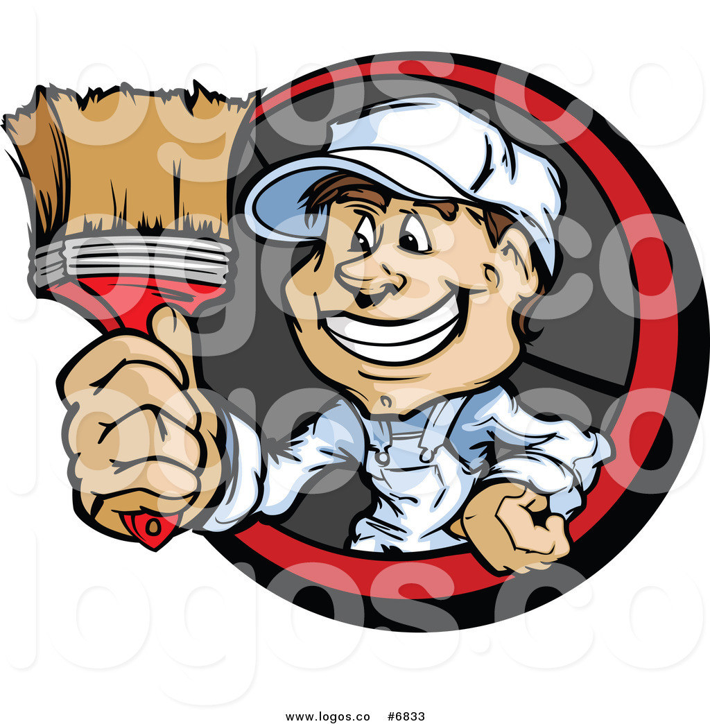 Clip Art Vector Logo Of A Painter Guy Holding Out A Brush By Chromaco