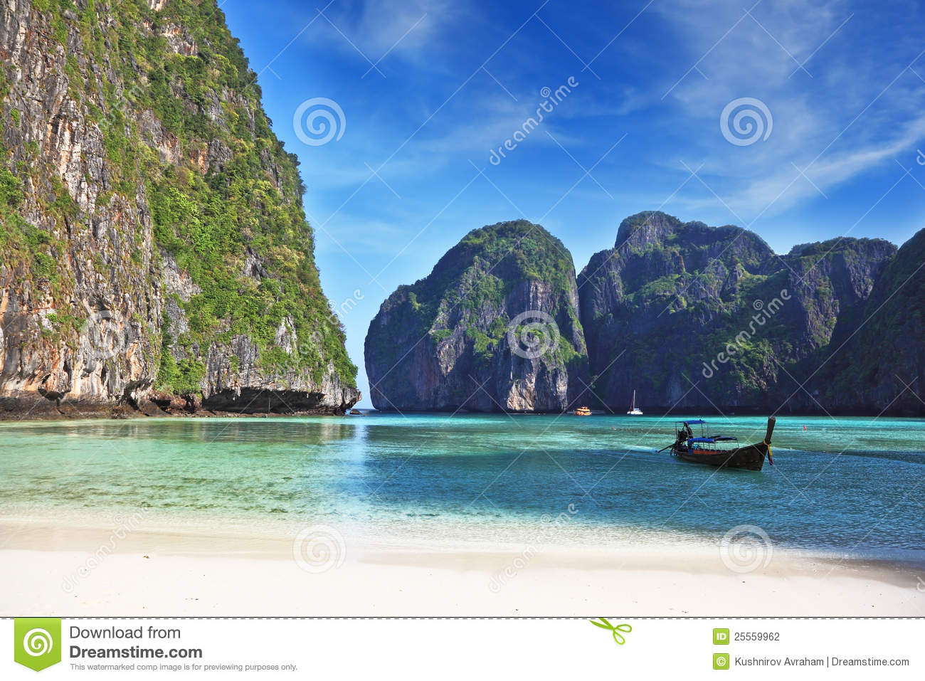 Cove Off The Coast Of Thailand  Emerald Water Lapping At The Cliffs