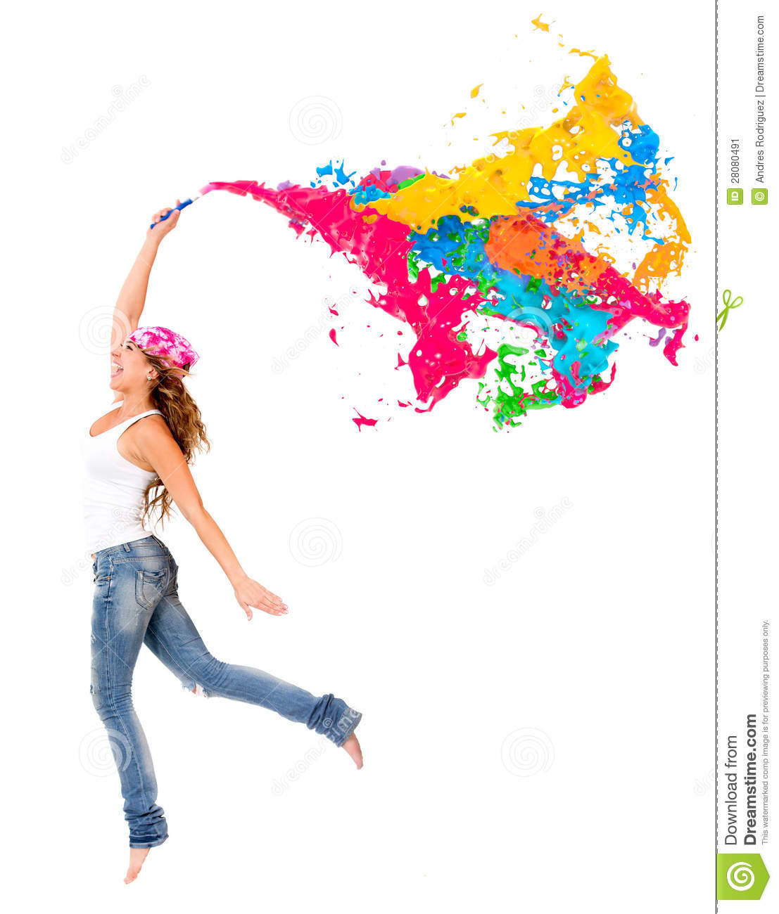 Happy Female Painter With A Colorful Paint Splash   Isolated
