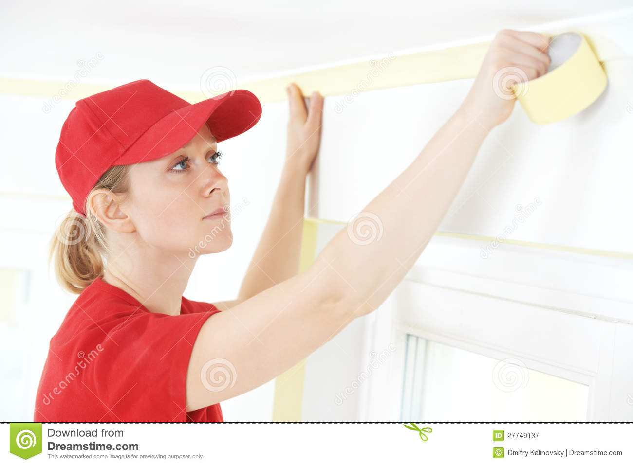 Home Painter With Masking Tape Royalty Free Stock Photography   Image