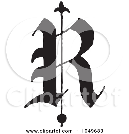 Of A Black And White Old English Abc Letter R By Bestvector  1049683