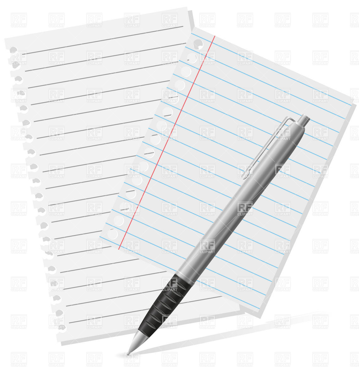 Pen And Sheet Of Paper Download Royalty Free Vector Clipart  Eps