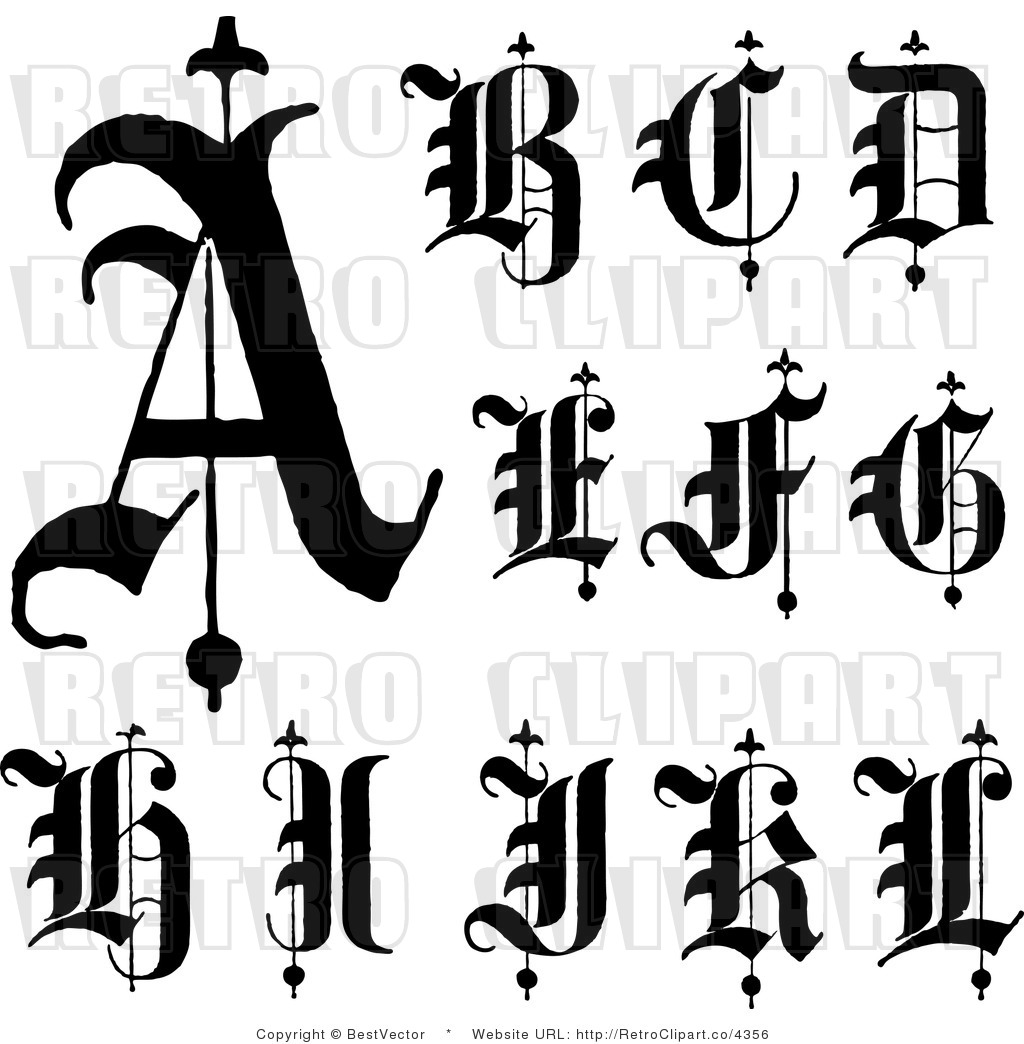 Royalty Free Retro Collage Of Old English Abc Letters A Through L By