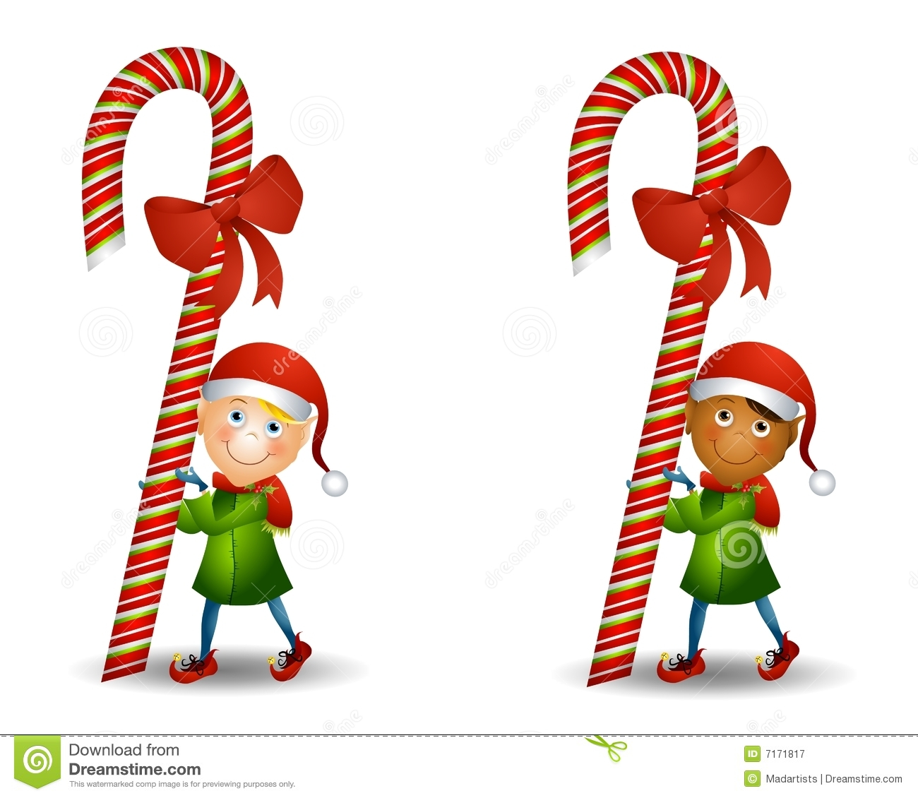 An Illustration Featuring Your Choice Of Elf Carrying A Candy Cane