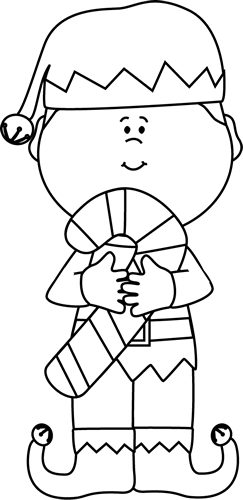 And White Christmas Elf Clip Art   Black And White Christmas Elf Image