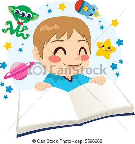 Boy Happy Reading A Science Fiction Space Exploration Adventures Book