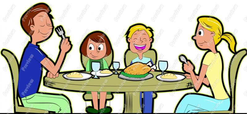 Family Eating Thanksgiving Dinner Clip Art   Royalty Free Clipart