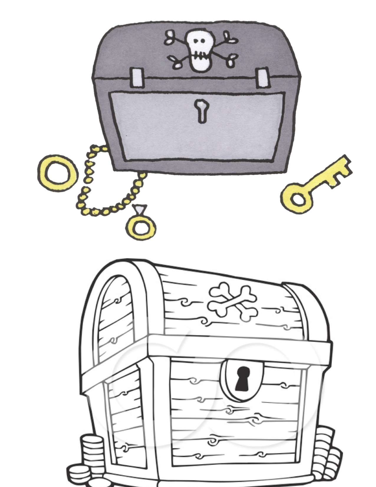 Open Treasure Chest Coloring Page  Kiddos!  Pinterest