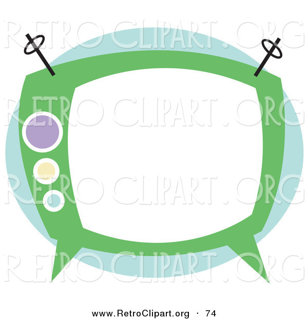 Retro Clipart Of An Old Fashioned Green Box Television On White By
