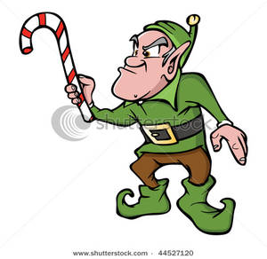 Royalty Free Clipart Image  An Angry Elf With Candy Cane