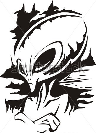 Science   Haughty Alien  Vector Illustration  Ready For Vinyl Cutting
