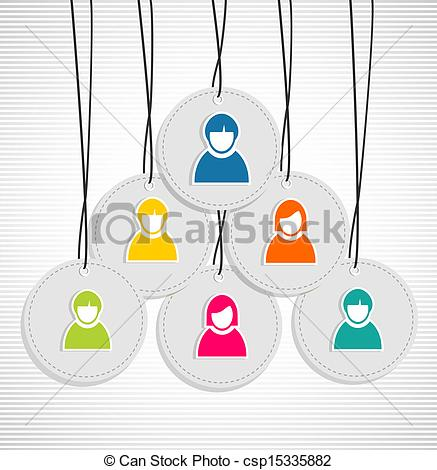 Vector Of Colorful Hanging Team Members Badges   Colorful Id Hang Tags