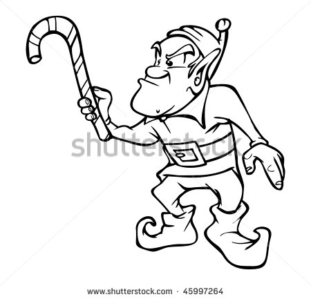 Vector Outline Illustration Angry Elf Candy Cane   Stock Vector