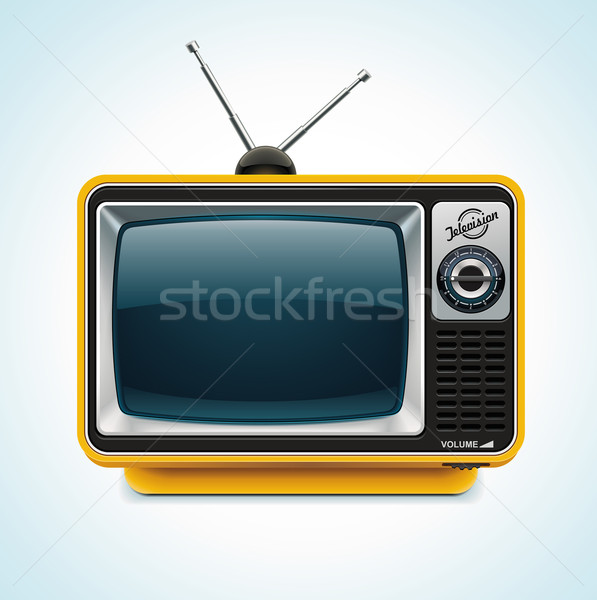 Vectoriel   Detailed Icon Representing Yellow Retro Tv With Antenna