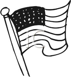 Black And White American Flag On A Flagpole   Royalty Free Clipart