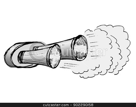 Car Exhaust Pipe Stock Vector Clipart Hand Drawn Illustration Of Car