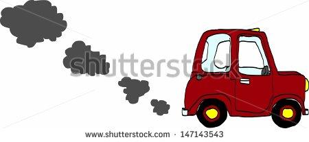 Cartoon Car Spewing Polluting Exhaust    Stock Vector