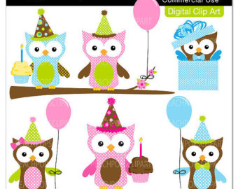 Cute Owl Clip Art Digital Clipart B Irds Animal Happy ...